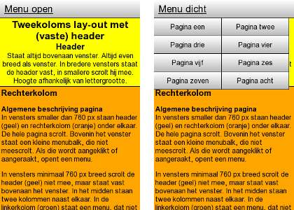 Afbeelding 3: de lay-out in smallere vensters